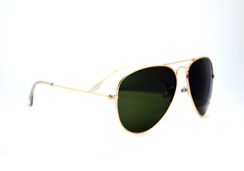 Shady Gold Finish Aviators with Dark Green Tint & Clear Tips 1