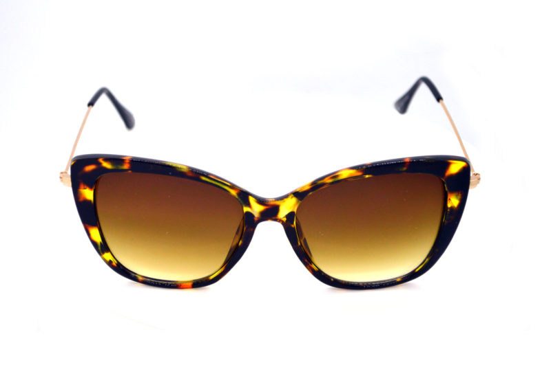 Shady Tortoise Print Butterfly Sunglasses with Yellow Gradient Tint 2
