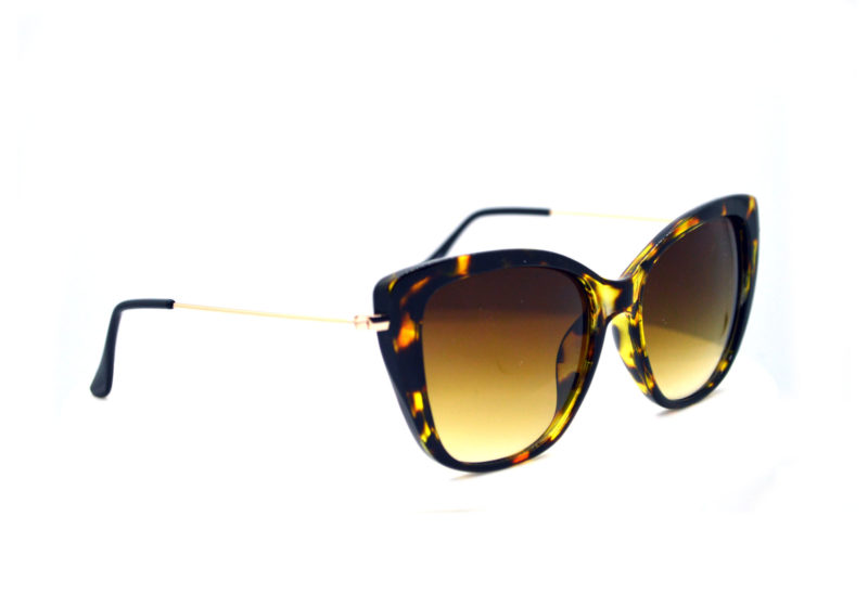 Shady Tortoise Print Butterfly Sunglasses with Yellow Gradient Tint 1